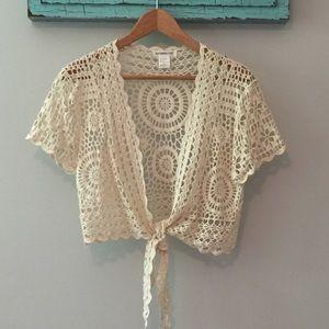 Roommates Boho crochet tie front cardigan, EUC, XL